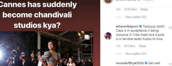 India Tv - Ekta Kapoor's comment on Karanvir Bohra's post
