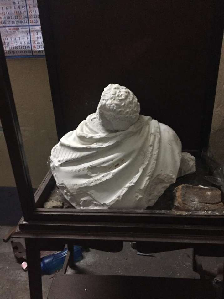 A bust of the 19th-century social reformer was vandalised