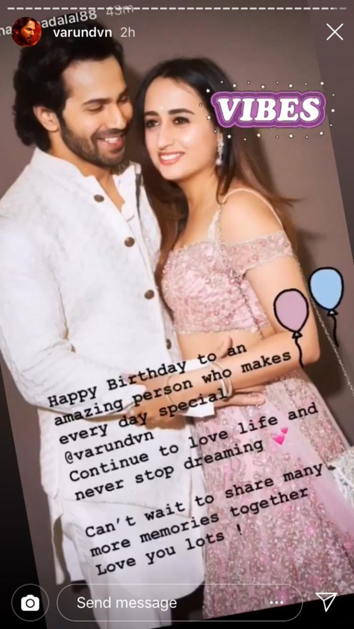 India Tv - Natasha Dalal's birthday wish for Varun Dhawan