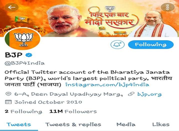 BJP crosses 11 million followers on