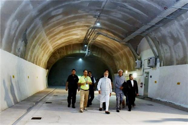 India Tv - PM Modi inaugurating the Zojila tunnel. The Zojila tunnel will be the longest bi-directional tunnel in Asia. Its construction period will be seven years because of a very difficult terrain where in some areas temperature dips to minus 45 degree celsius. The tunnel shall be an engineering marvel as first of its kind in such a geographical area.
