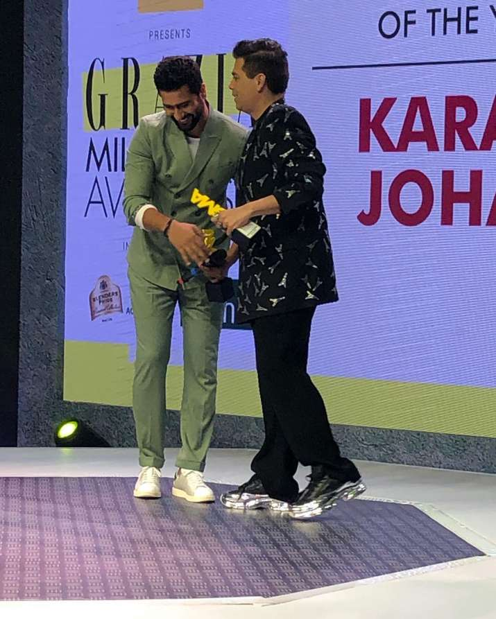 India Tv - Vicky kaushal shares a moment with filmmaker Karan Johar
