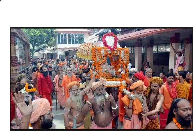 Sadhus taking out a procession on the eve of Ambubachi