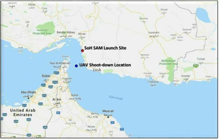 India Tv - This map provided by the Department of Defense, Thursday, June 20, 2019, shows the site where they say a U.S. Navy RQ-4 drone was shot down. The Department of Defense says the drone was flying over the Gulf of Oman and the Strait of Hormuz on a surveillance mission in international airspace in the vicinity of recent IRGC maritime attacks when it was shot down by an IRGC surface to air missile fired from a launch site in the vicinity of Goruk, Iran. (Department of Defense via AP)