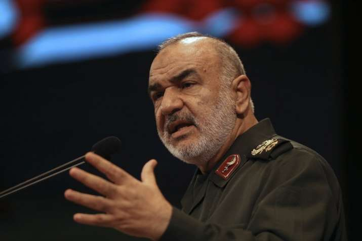 India Tv - In this Nov. 22, 2018, the then deputy commander of Iran's Revolutionary Guard Gen. Hossein Salami speaks in a conference in Tehran, Iran. Iran's Revolutionary Guard shot down a U.S. drone on Thursday, June 20, 2019, amid heightened tensions between Tehran and Washington over its collapsing nuclear deal with world powers, American and Iranian officials said, while disputing the circumstances of the incident. The current chief of the Guard, Gen. Salami, speaking to a crowd in the western city of Sanandaj on Thursday, described the American drone as