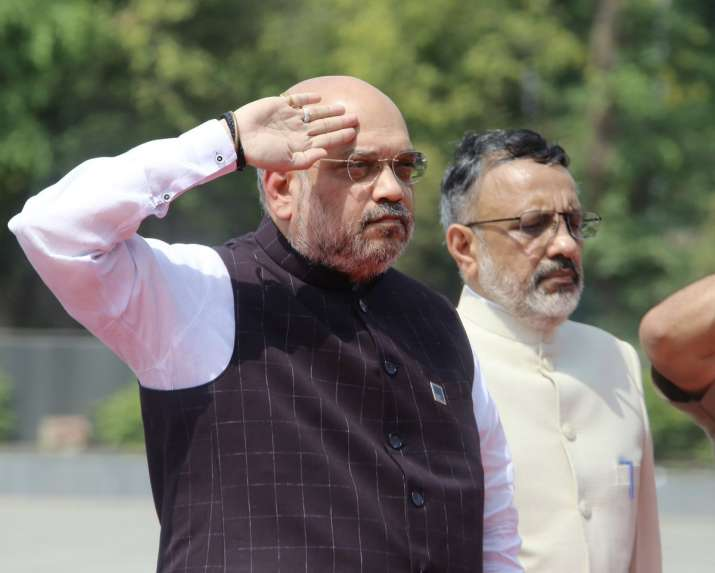 Home Minister Amit Shah paying respect to the martyrs at