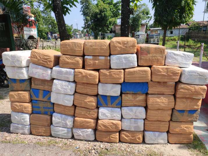 The photo shows over 50 cartons filled with cannabis.