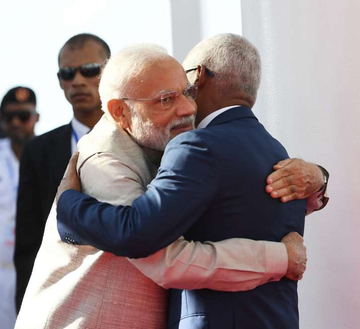 PM Narendra Modi being welcomed by the President of