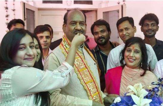 Newly elected Lok Sabha Speaker Om Birla celebrated with