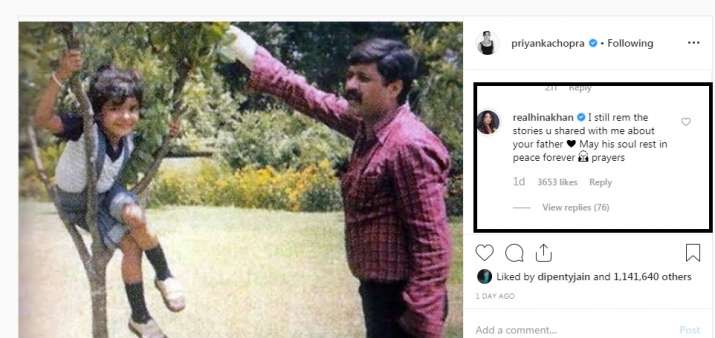 India Tv - Hina Khan's comment on Priyanka Chopra's latest post, as she misses her father on his death anniversary.