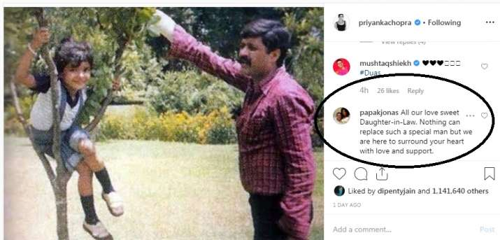 India Tv - Priyanka Chopra's father-in-law's response on her latest post, as she misses her father on his 6th death anniversary.