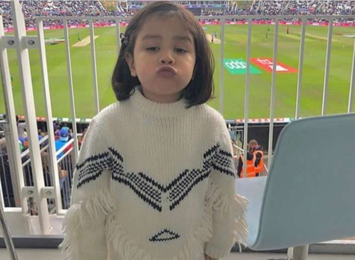 MS Dhoni's daughter Ziva pouts and cheers for team India during ICC World Cup match against South Af