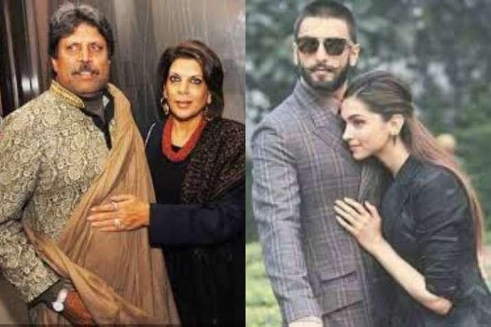 Ranveer as Kapil Dev and Deepika as Romi Bhatia in the film
