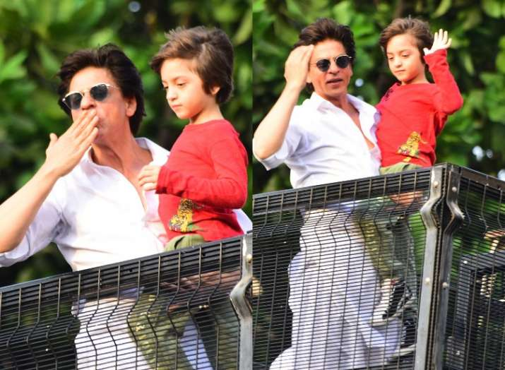 Shah Rukh Khan and son Abram make for the perfect Eid gift for fans gathered outside Mannat