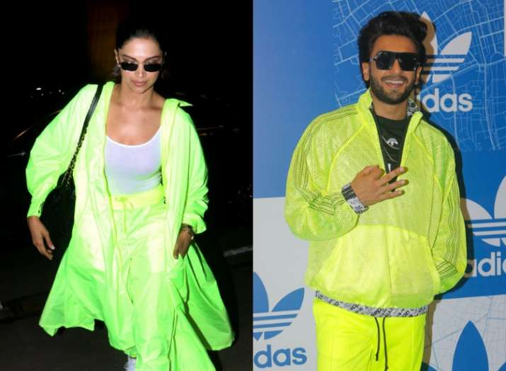 Image result for deepika airport look neon green
