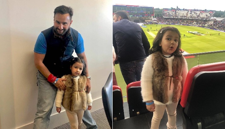 Saif Ali Khan happily poses with MS Dhoni's daughter Ziva Dhoni