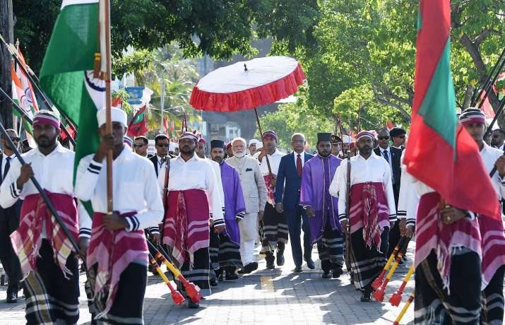 India Tv - Prime Minister Narendra Modi being welcomed by the President of Maldives, Mr. Ibrahim Mohamed Solih, in Male, Maldives on June 08, 2019.