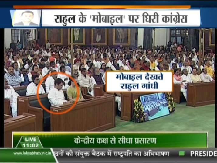 WATCH: Rahul Gandhi seen busy with his mobile phone during