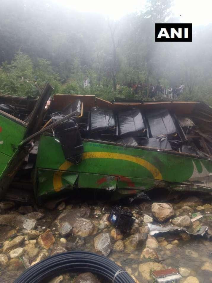 India Tv - Bus falls in a 500-feet deep gorge in Kullu, Himachal Pradesh