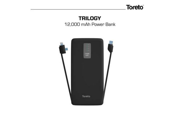 Toreto Trilogy smart power bank with in-built charging cables launched in India