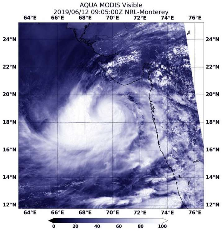 cyclone vayu in space, cyclone vayu nasa image
