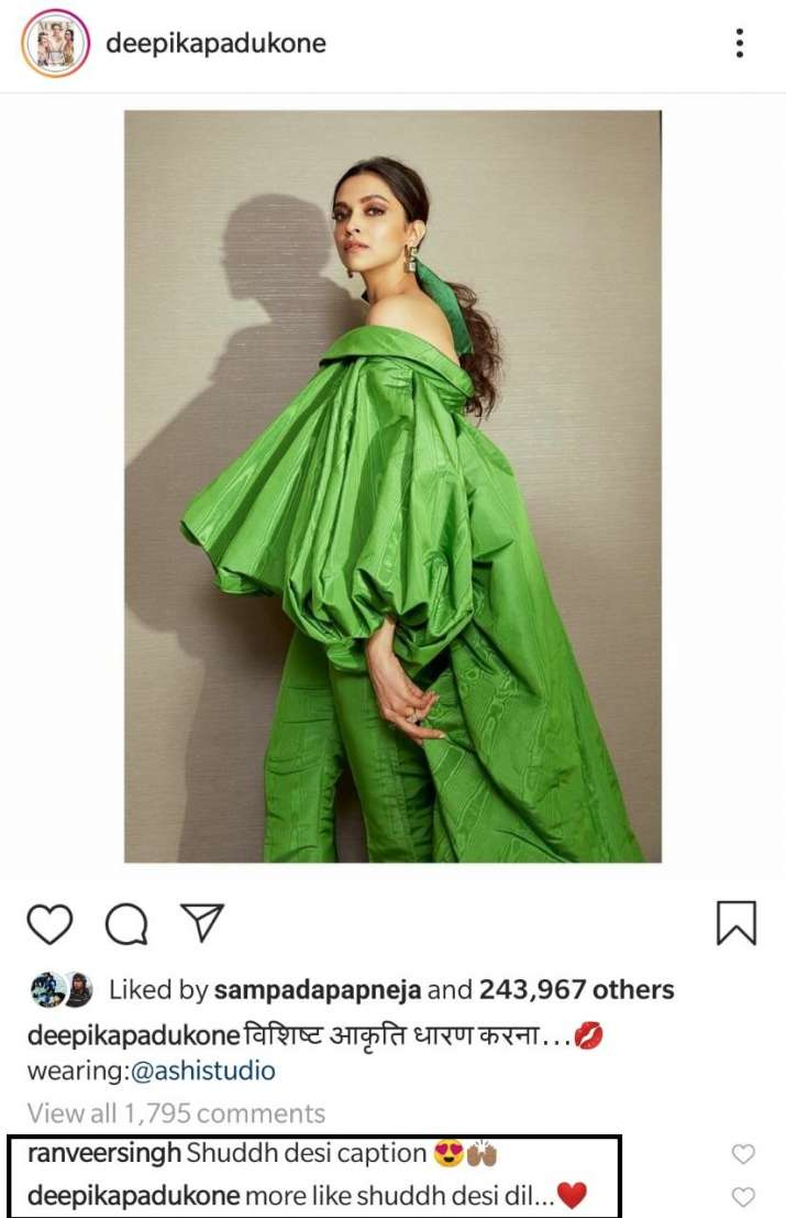 India Tv - Ranveer Singh leaves adorable comment on wife Deepika Padukone's latest picture