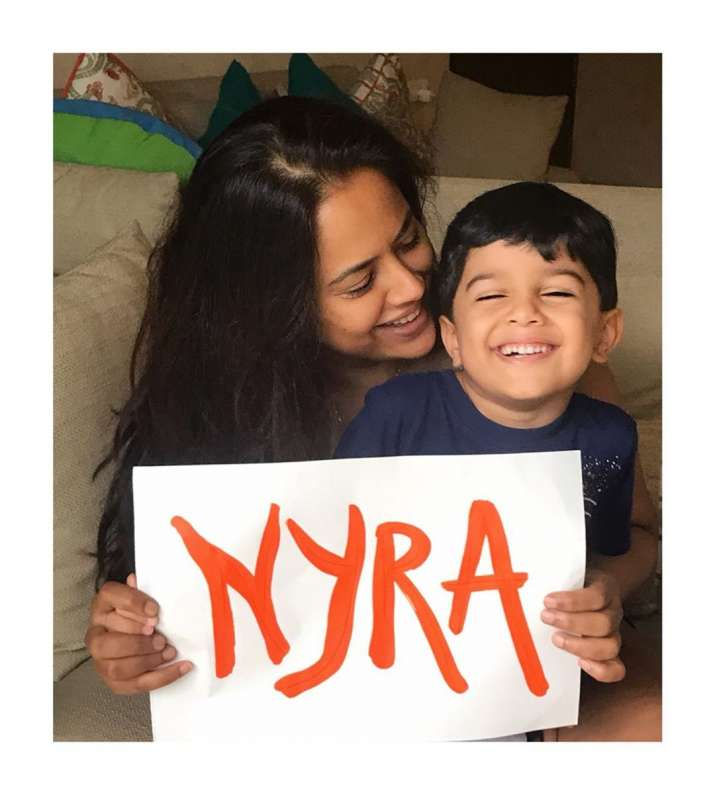 India Tv - Sameera Reddy names her daughter Nyra, shares adorable picture