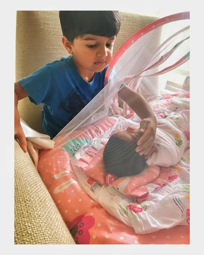 India Tv - Sameera Reddy's son Hans with her daughter Nyra
