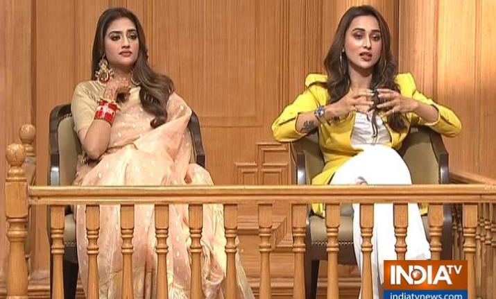 Nusrat Jahan and Mimi Chakraborty in Aap Ki Adalat with