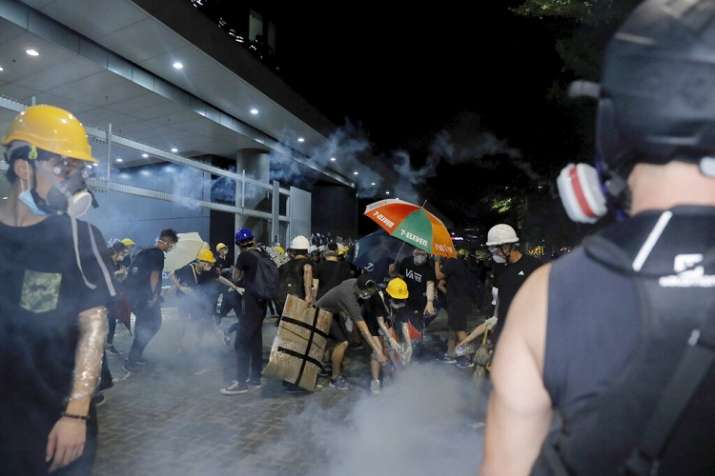 Hong Kong police clear protesters from legislature building