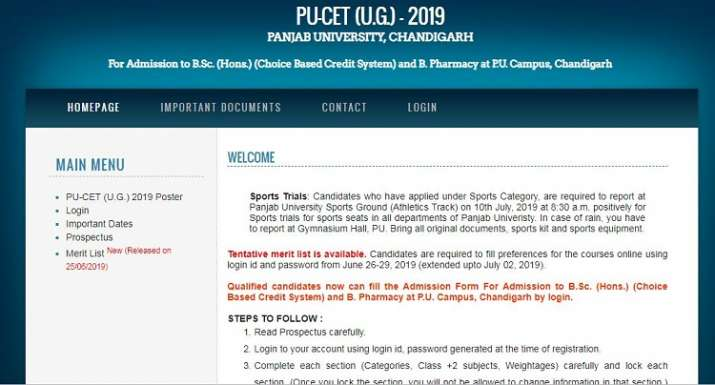 PU CET 2019: Seat allotment result to be declared today