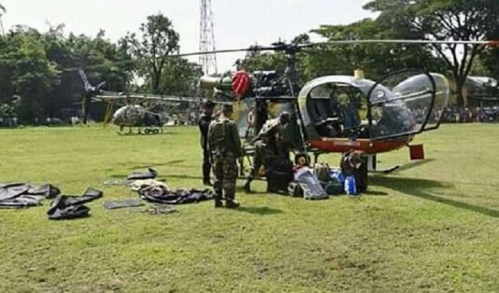 Army helicopter on flood rescue operation makes emergency landing