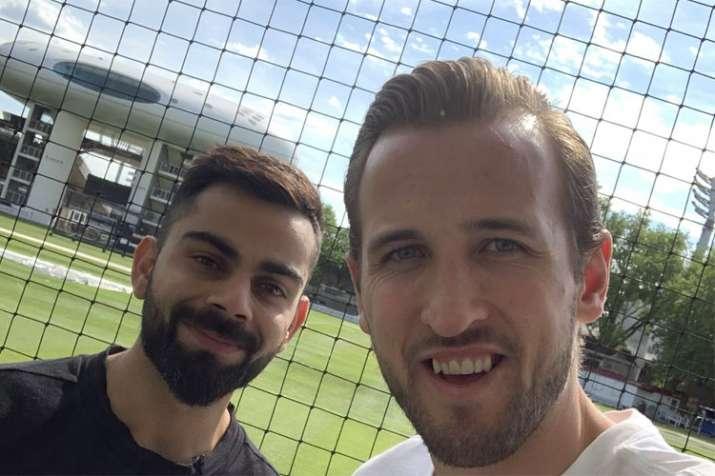 English footballer Harry Kane shows off his bowling skill against Virat Kohli at Lord's
