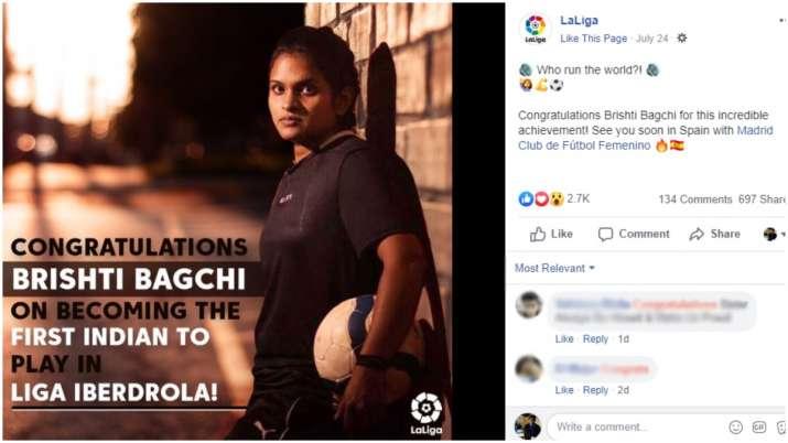 India Tv - La Liga congratulated Brishti Bagchil
