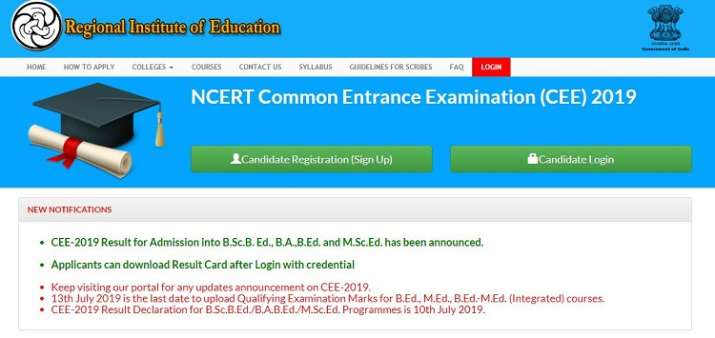 NCERT CEE Result 2019 announced