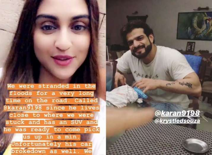 Karan Patel saves Krystle D'souza from Mumbai rains, actress shares cute thank you post