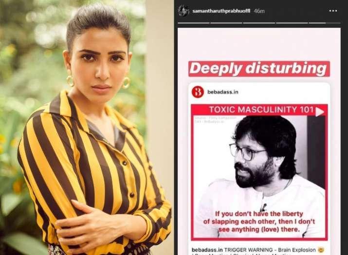 India Tv - Samantha Akkineni reacts to Kabir Singh maker Sandeep Vanga's defense on criticism