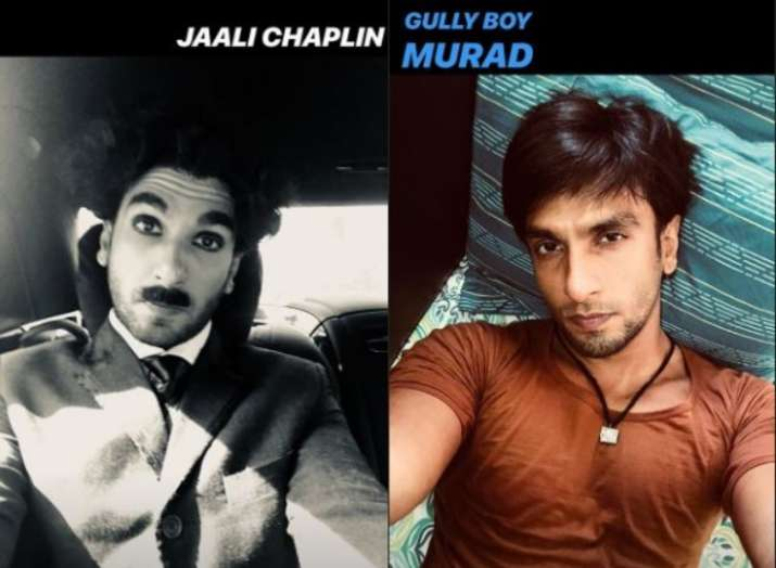 India Tv - Ranveer Singh as Jaali Chaplin from an ad shoot and Murad from Gully Boy