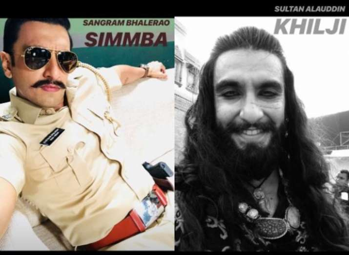 India Tv - Ranveer Singh as Sangram Bhalero from Simmba and Alauddin Khilji from Padmaavat