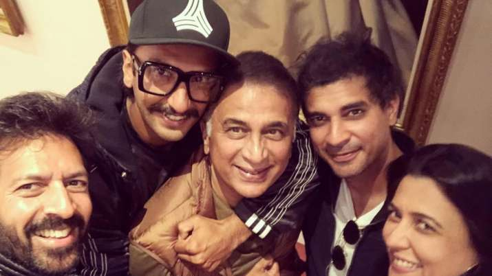 Ranveer Singh poses with 'little master' Sunil Gavaskar, as cricketer meets '83 starcast in England