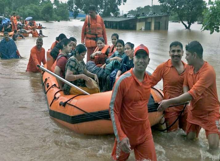 NDRF personnel carry out rescue and relief operation after