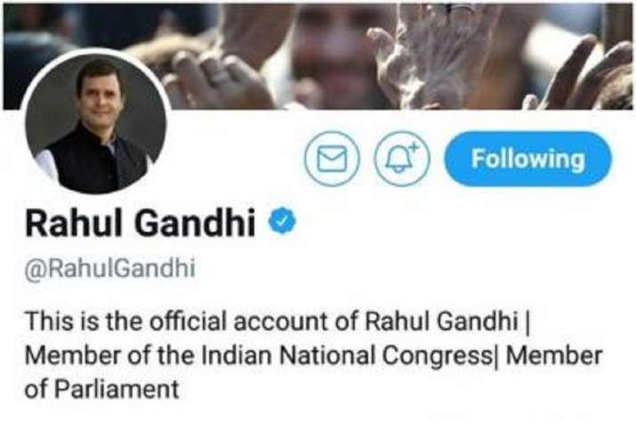 Rahul Gandhi Twitter Handle Bio Changed