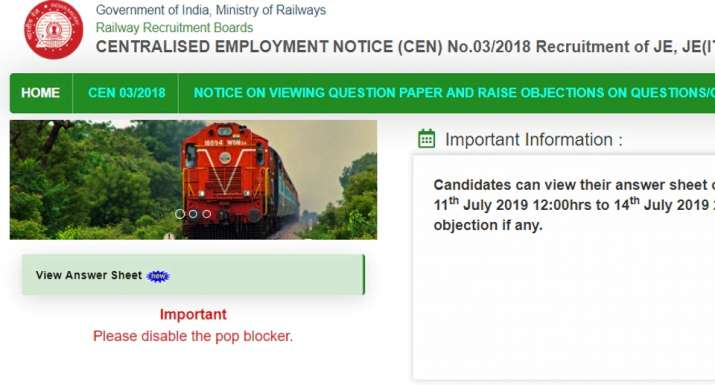 RRB JE Answer Key 2019 released at rrbonlinereg in