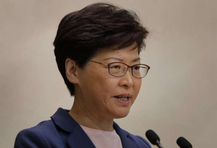 Hong Kong Chief Executive Carrie Lam pauses during a press