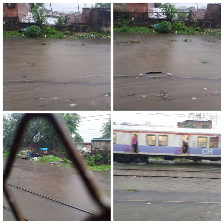 India Tv - Submerged railway tracks near Sion station on central line
