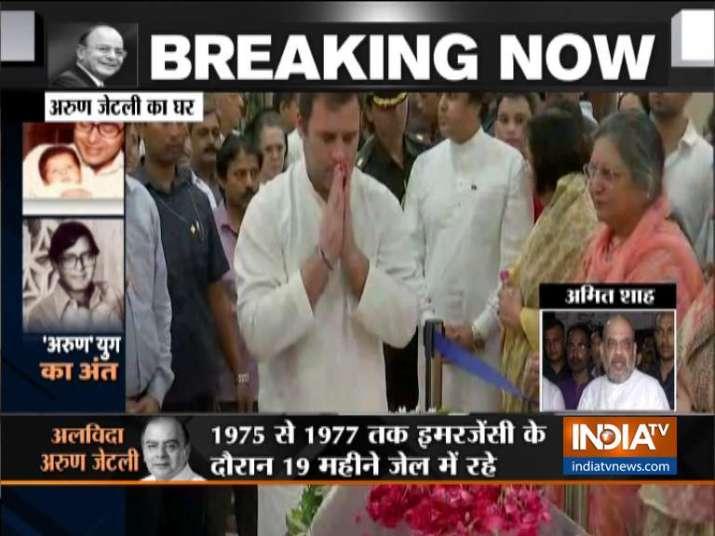 India Tv - Rahul Gandhi pays tribute to Arun Jaitley