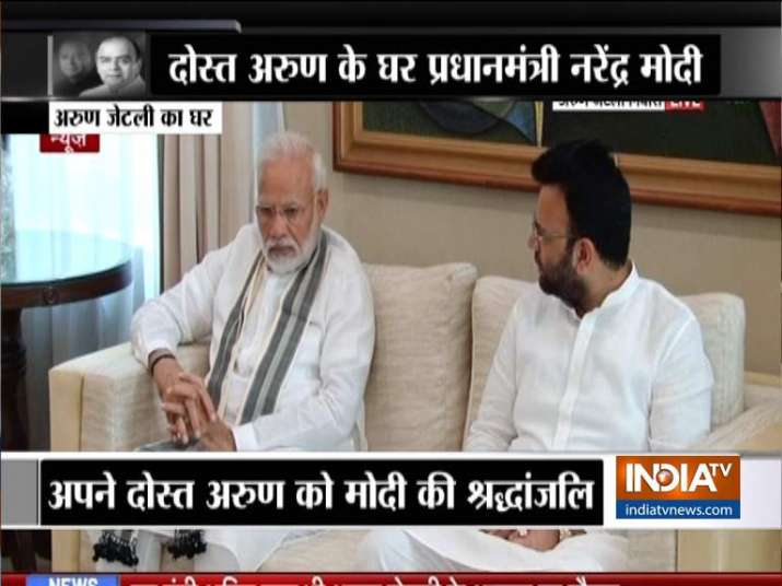 India Tv - PM Modi meets Arun Jaitley's family, pays tributes
