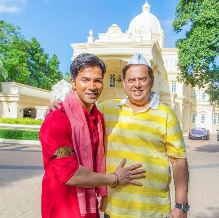 India Tv - Varun Dhawan and father David Dhawan's behind the scenes picture from Coolie No. 1 sets