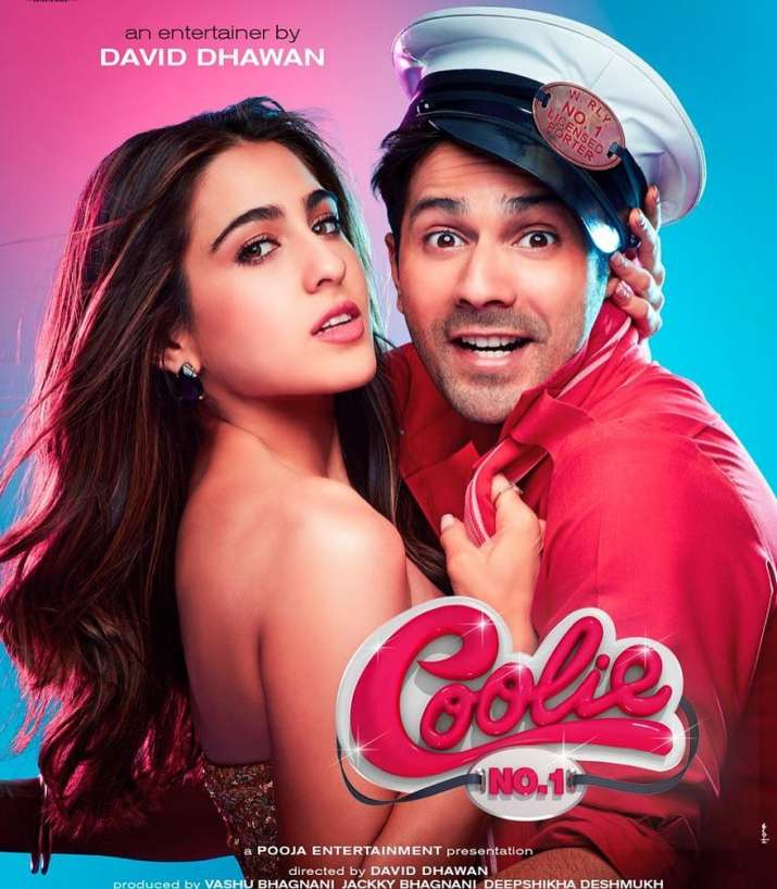 India Tv - Varun Dhawan and Sara Ali Khan on Coolie No. 1 poster