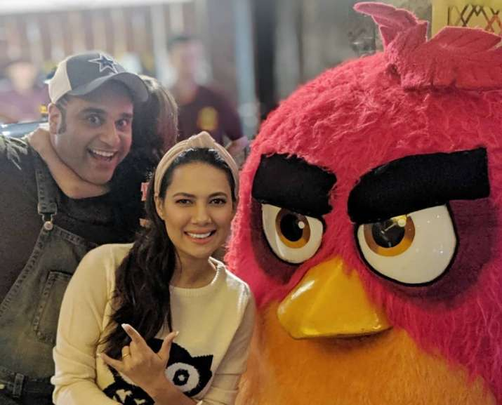 India Tv - Rochelle Rao and Krishna Abhishek at Angry Birds 2 movie screening